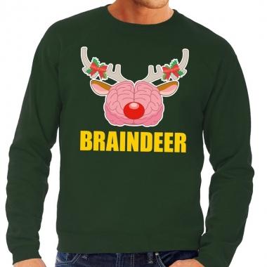 Goedkope foute kersttrui / sweater braindeer groen voor heren