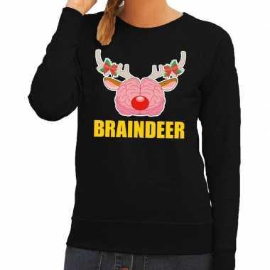 Goedkope foute kersttrui / sweater braindeer zwart voor dames