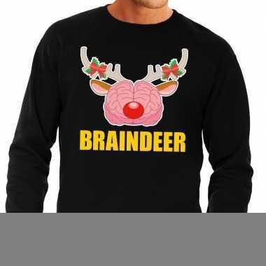 Goedkope foute kersttrui / sweater braindeer zwart voor heren