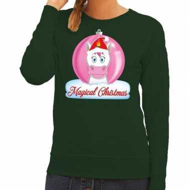 Goedkope foute kersttrui / sweater eenhoorn magical christmas groen v