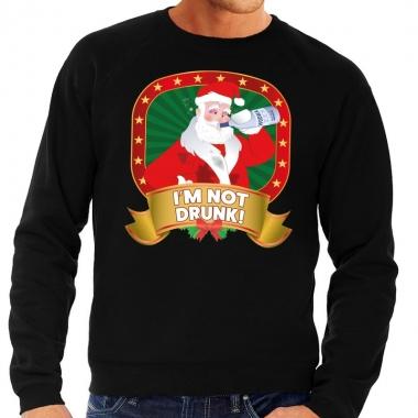 Goedkope foute kersttrui zwart dronken kerstman met drankfles heren
