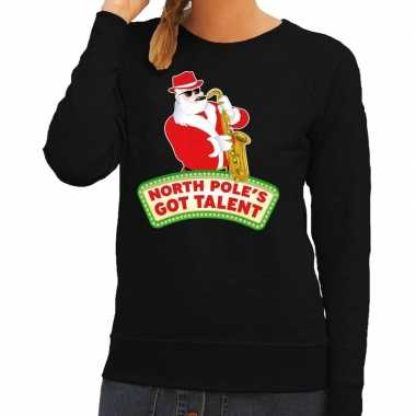 Goedkope foute kersttrui zwart kerstman met saxofoon dames