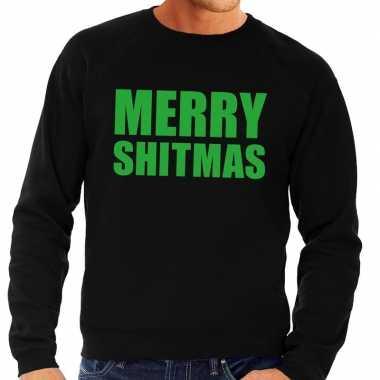 Goedkope foute kersttrui zwart merry shitmas heren