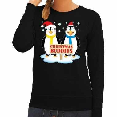 Goedkope foute kersttrui zwart met 2 pinguins voor dames