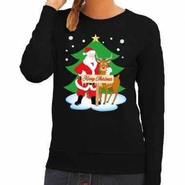 Goedkope foute kersttrui zwart met de kerstman en rudolf voor dames
