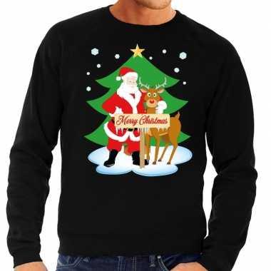 Goedkope foute kersttrui zwart met de kerstman en rudolf voor heren