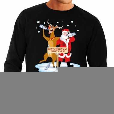 Goedkope foute kersttrui zwart met een dronken kerstman en rudolf voo