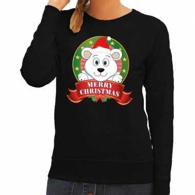 Goedkope foute kersttrui zwart met ijsbeertje voor dames