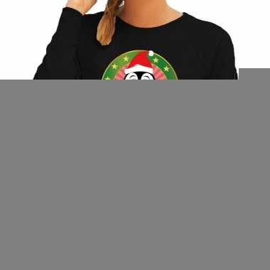 Goedkope foute kersttrui zwart met pinguin voor dames