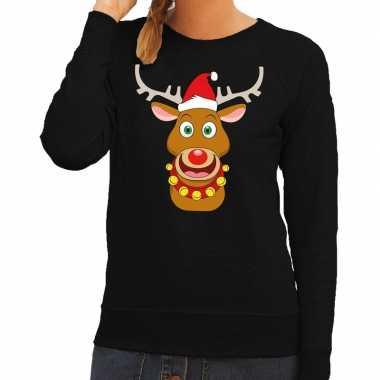 Goedkope foute kersttrui zwart met ruldolf het rendier met rode muts