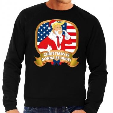 Goedkope foute kersttrui zwart met trump christmas is gonne be huge h