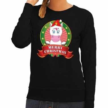 Goedkope foute kersttrui zwart met unicorn voor dames