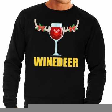 Goedkope foute kersttrui zwart met wijntje heren