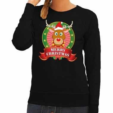 Goedkope foute kersttrui zwart rudolf het rendier voor dames