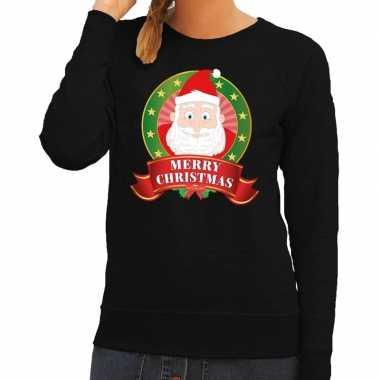 Goedkope foute kersttrui zwart santa merry christmas voor dames