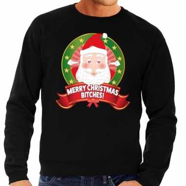 Goedkope foute kersttrui zwart verliefde kerstman heren