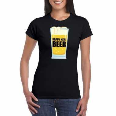 Goedkope foute oud en nieuw shirt happy new beer zwart voor dames