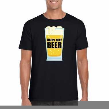 Goedkope foute oud en nieuw shirt happy new beer zwart voor heren