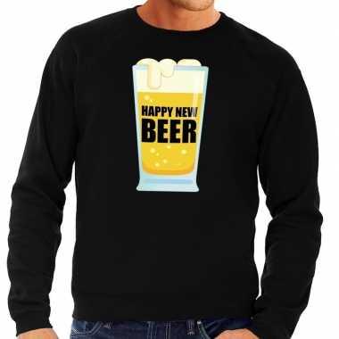 Goedkope foute oud en nieuw sweater / trui happy new beer zwart voor