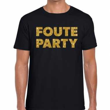 Goedkope foute party gouden letters fun t shirt zwart voor heren
