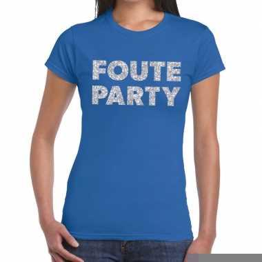 Goedkope foute party zilveren letters fun t shirt blauw voor dames