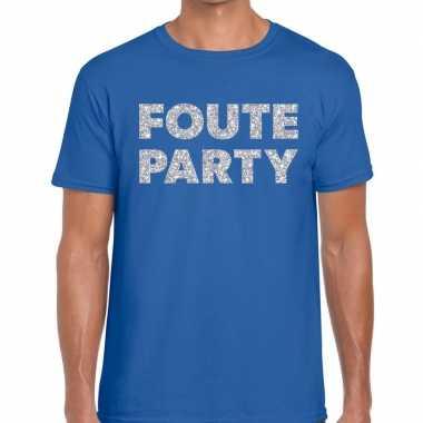 Goedkope foute party zilveren letters fun t shirt blauw voor heren