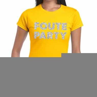 Goedkope foute party zilveren letters fun t shirt geel voor dames