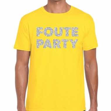 Goedkope foute party zilveren letters fun t shirt geel voor heren
