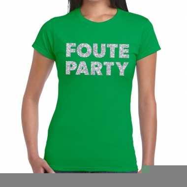 Goedkope foute party zilveren letters fun t shirt groen voor dames
