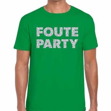 Goedkope foute party zilveren letters fun t shirt groen voor heren