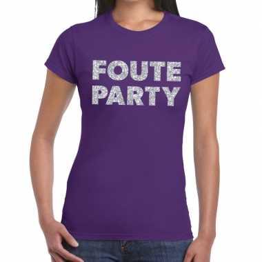 Goedkope foute party zilveren letters fun t shirt paars voor dames