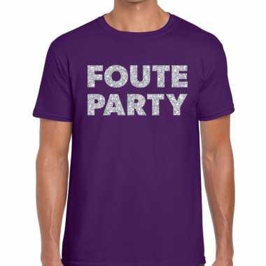 Goedkope foute party zilveren letters fun t shirt paars voor heren