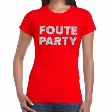 Goedkope foute party zilveren letters fun t shirt rood voor dames