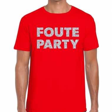 Goedkope foute party zilveren letters fun t shirt rood voor heren