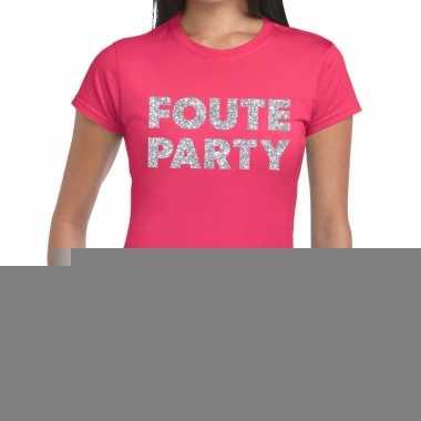 Goedkope foute party zilveren letters fun t shirt roze voor dames