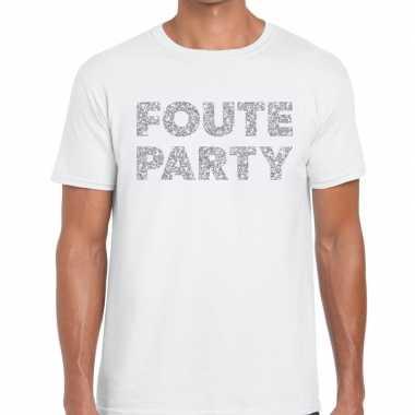 Goedkope foute party zilveren letters fun t shirt wit voor heren