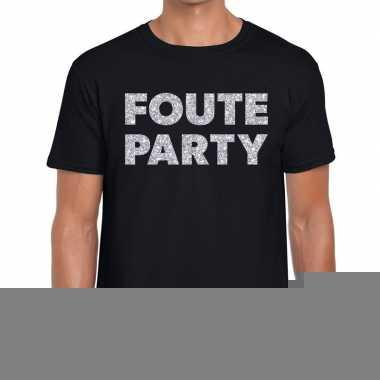 Goedkope foute party zilveren letters fun t shirt zwart voor heren
