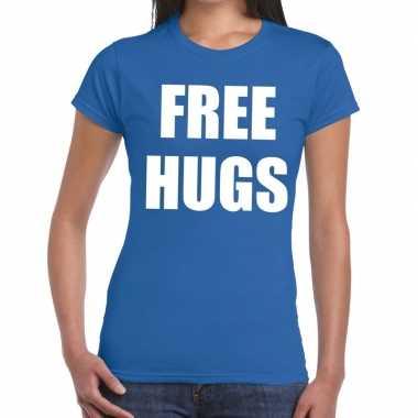 Goedkope free hugs fun t shirt blauw voor dames