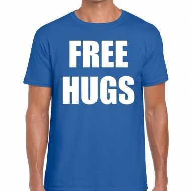 Goedkope free hugs fun t shirt blauw voor heren