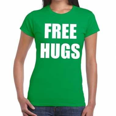 Goedkope free hugs fun t shirt groen voor dames