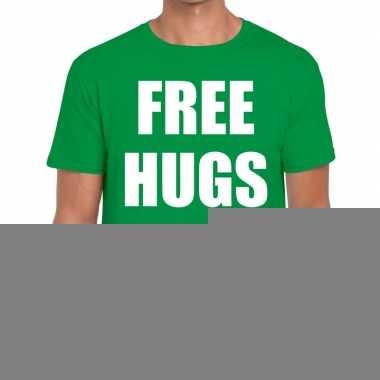 Goedkope free hugs fun t shirt groen voor heren