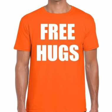 Goedkope free hugs fun t shirt oranje voor heren