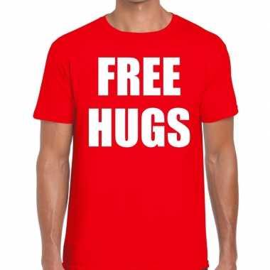 Goedkope free hugs fun t shirt rood voor heren
