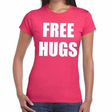 Goedkope free hugs fun t shirt roze voor dames