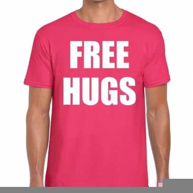 Goedkope free hugs fun t shirt roze voor heren