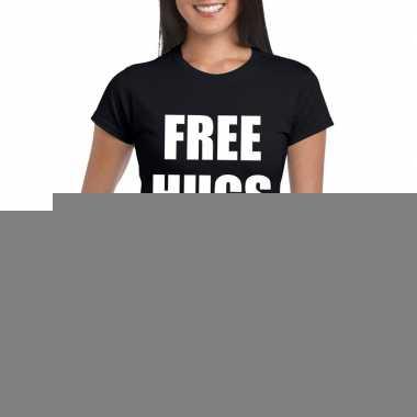 Goedkope free hugs fun t shirt zwart voor dames