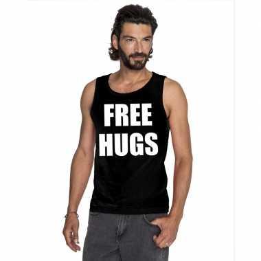 Goedkope free hugs mouwloos shirt zwart voor heren