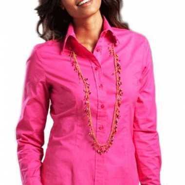 Goedkope fuchsia gekleurd dames overhemd met lange mouwen