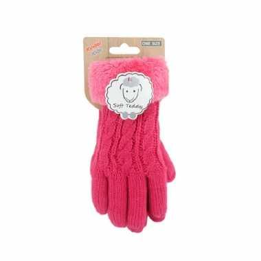 Goedkope fuchsia roze handschoenen gebreid teddy voor jongens/meisjes/kinderen