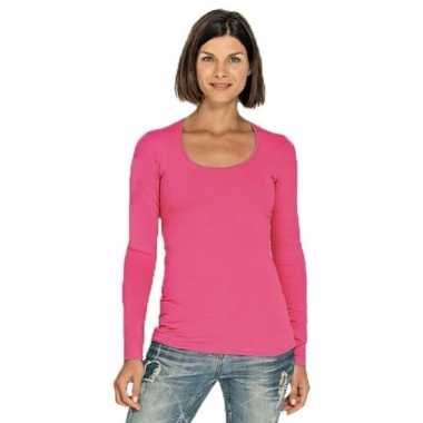 Goedkope fuchsia roze longsleeve shirt met ronde hals voor dames